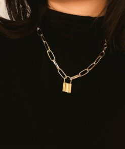 Link Necklace with Lock Pendant for Women Necklaces