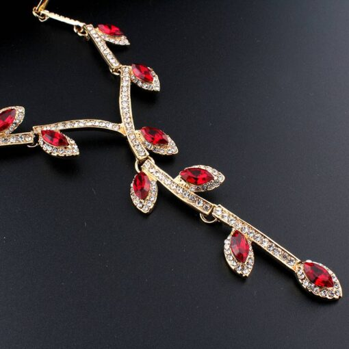 Fashion Crystal Leaves Shape Evening Jewelry Set for Women Jewelry Sets