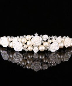 Fashion Evening Sparkling Pearl Crystal Tiaras Hair Jewelry