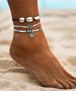 Women's Boho Sea Shell Decorated Anklets Set Anklets