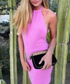 Sexy Backless Solid Color Summer Mini Dress Dresses Sleeveless Dresses Women's Clothing
