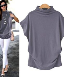 Women's Loose Turtleneck Short Sleeved Top T-Shirts Tops & T-Shirts