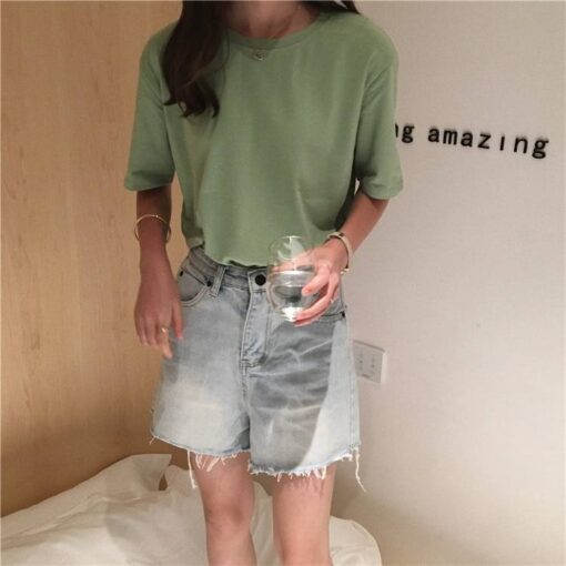 Women's Basic Solid Color T-Shirt T-Shirts Tops & T-Shirts