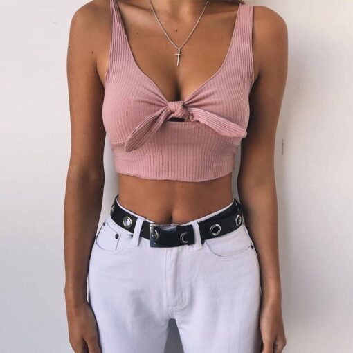 Bow Decorated Crop Top Tops Tops & T-Shirts Women's Clothing