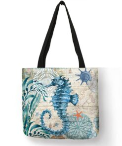 Sea Themed Printed Linen Shopper Shoulder Bag Luggage & Travel Bags Shopping & Tote Bags