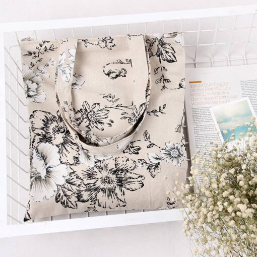 Women's Pastoral Flowers Cotton Tote Bag Luggage & Travel Bags Shopping & Tote Bags